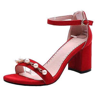 Agodor Damen Blockabsatz Slingbacks Sandalen mit Spitze und Schnalle Elegant Offen Schuhe