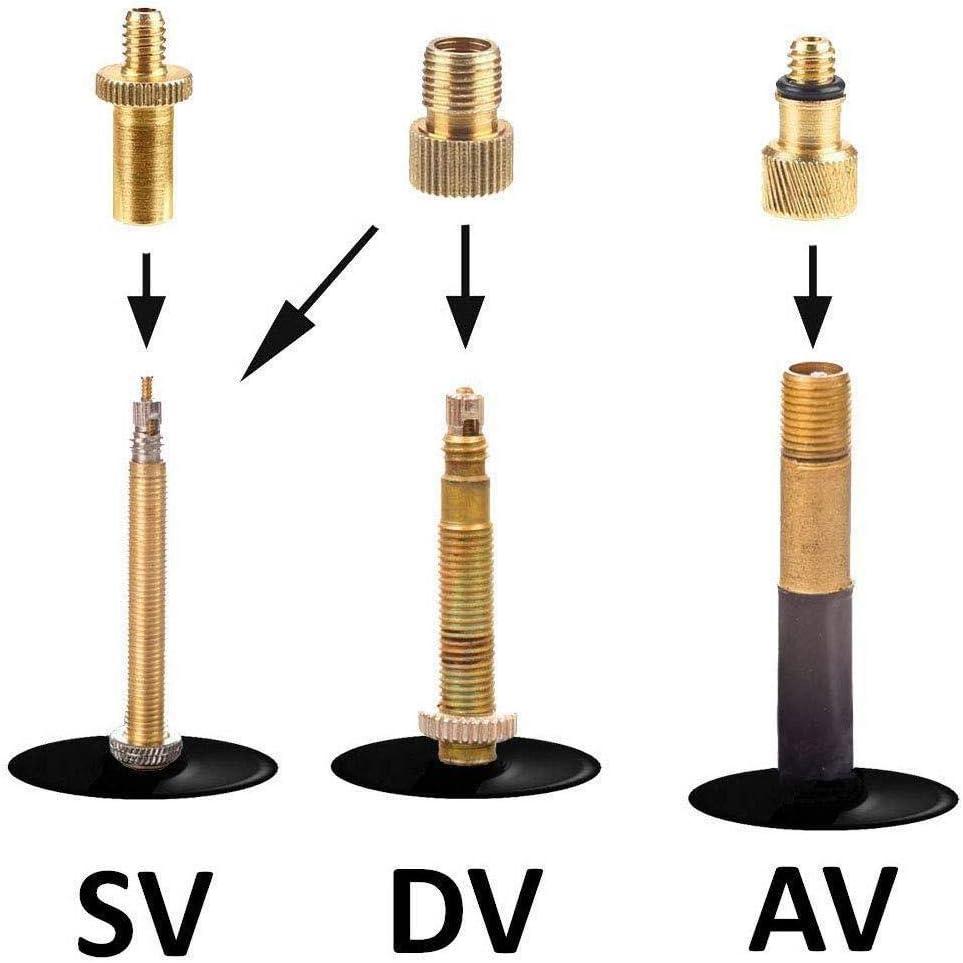 Alomejor 15pcs Adaptateur de Valve Adaptateur de Pompe /à v/élo Jeu dadaptateurs en cuivre Pur/pour Ballon Gonflable de v/élos de soupape SV AV DV