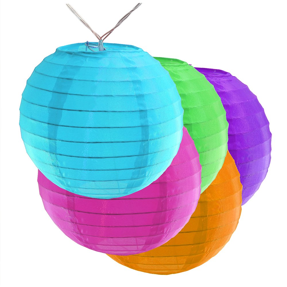 Lumabase 57701 10 Count Battery Operated String Light with 6'' Nylon Lanterns, Multicolor by Lumabase