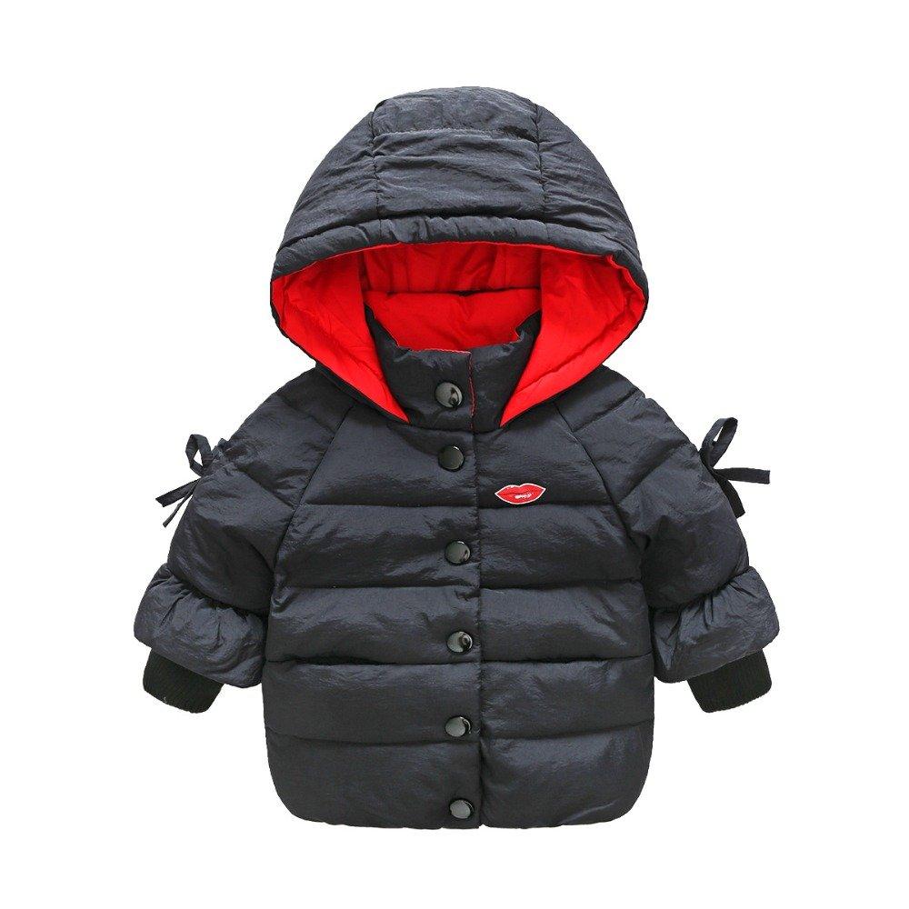 Noir  4T Zorux – Mode Blanc Duvet de Canard Veste pour fille Combinaison à capuche Filles Manteau d'hiver Parka avec nœud enfants VêteHommests
