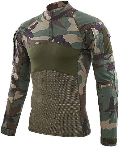 Hombre Militar Táctica Camisa Al Aire Libre Camuflaje Camisas Manga Larga Secado Rápido Remeras Dry Fit Transpirables T Shirt Training Top: Amazon.es: Ropa y accesorios