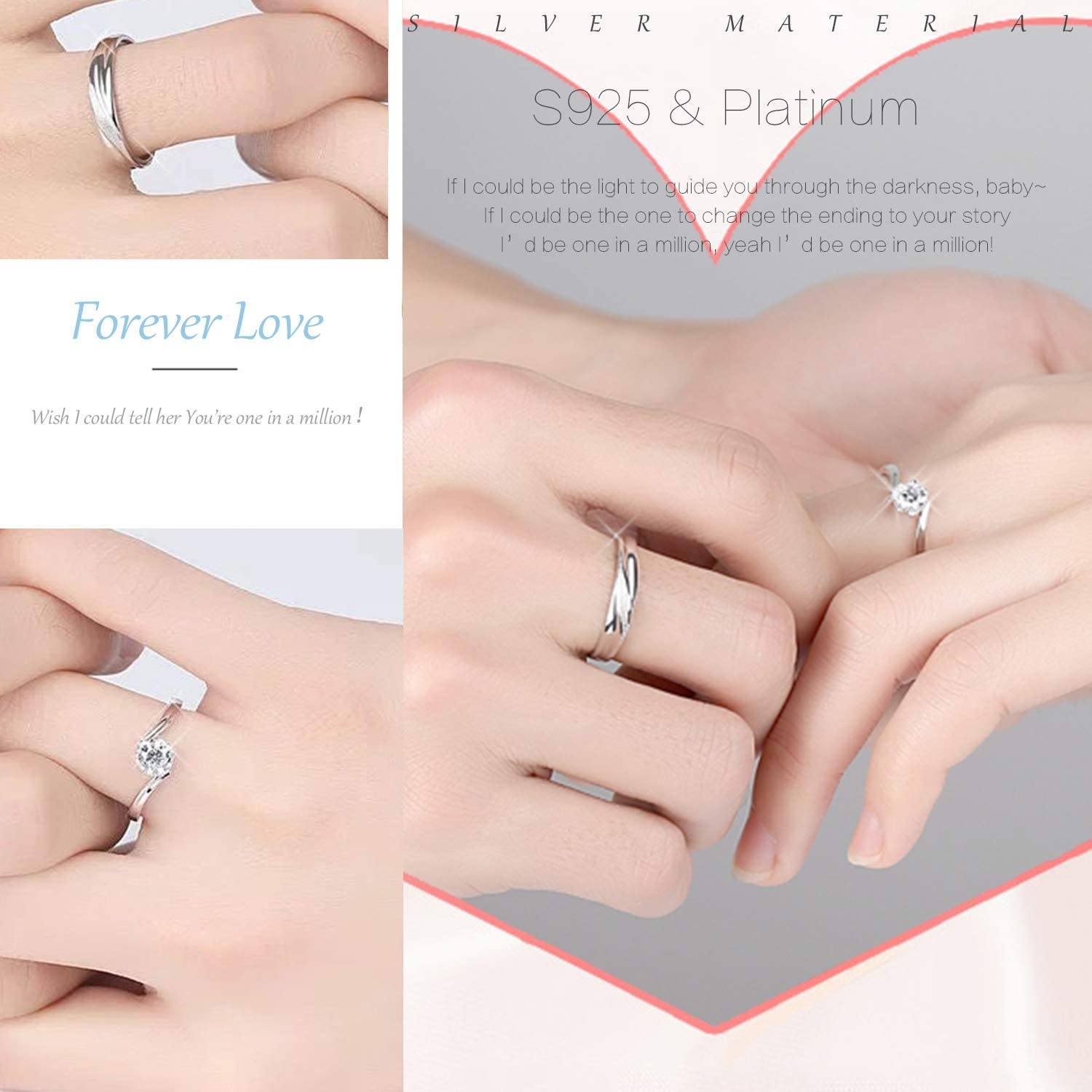 Amazon Com Sunamy Endless Love Matching Couple Rings For Him And