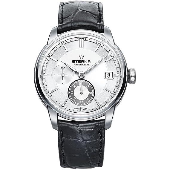 Reloj Automático Eterna Adventic, Eterna 3914A, Correa de Cocodrilo, Plata: Amazon.es: Relojes