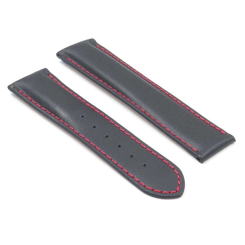 DASSARI モデナ 黒 スムーズ イタリアンレザー 時計バンド OMEGA 時計用 赤ステッチ仕上げ サイズ 20/18 20mm B00OBWOXYM