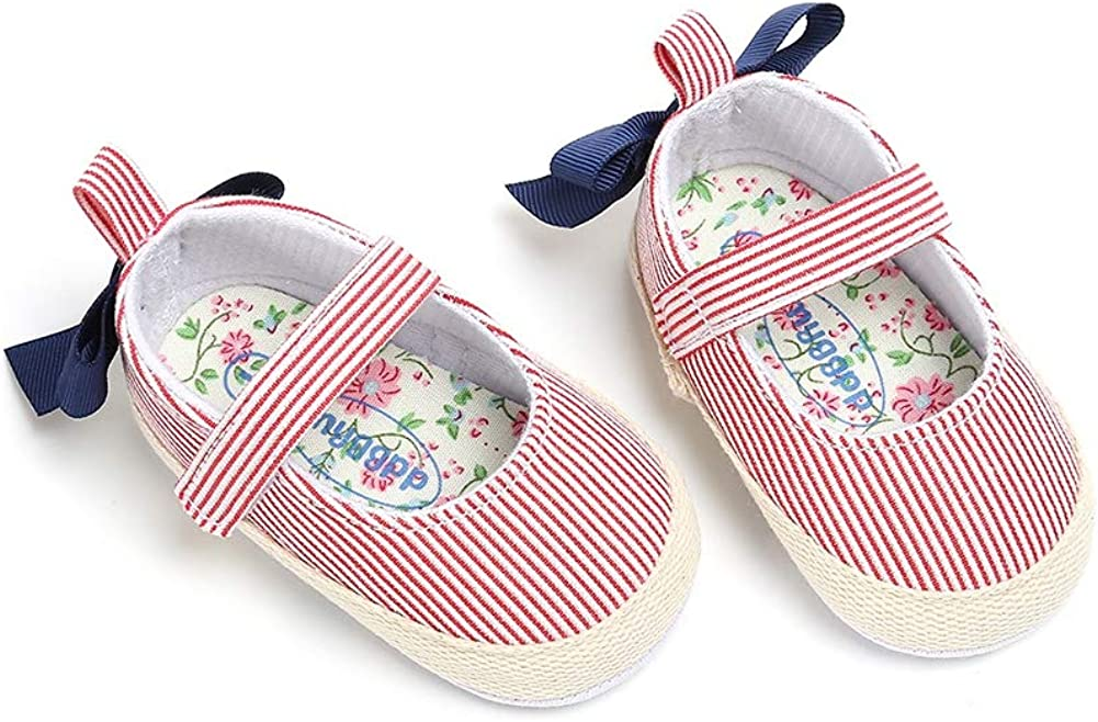 Weixinbuy Baby Girls Bowknot Stripe Soft Sole Non-Slip Mary Jane Flats Princess Shoes
