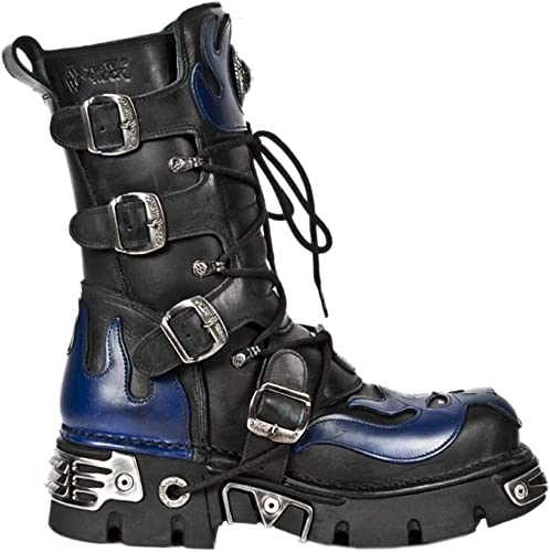 New Rock Metallic Black Blue Flame Boots M.107 S5 Leather Biker Goth Boots