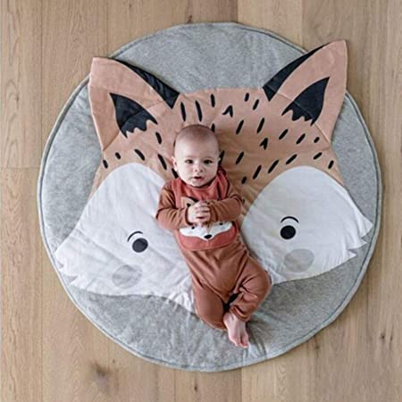 GY8 Neihan Round Rug Cartoon Animal Carpet,Baby Cotton Crawling Mats Game Blanket Floor Play Mat for Bedroom Living Room Childrens Room Decoration size Diameter 90CM