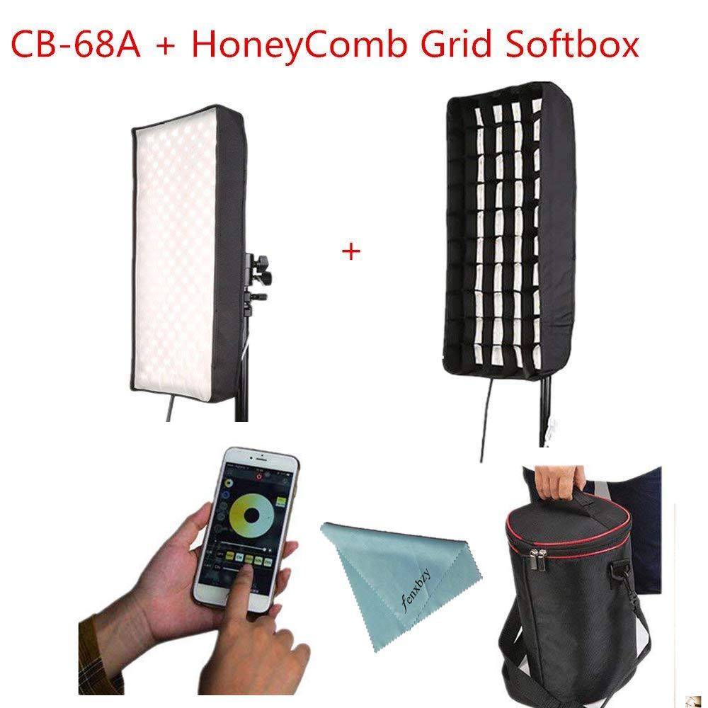 Menik CB-68A 68W 336pcs Led Studio Flexible Lighting with HoneyComb Grid Softbox CRI95 3200-5600K Bi-color LED Video Light for Video Shooting Portrait Food Photography Fill-in Light
