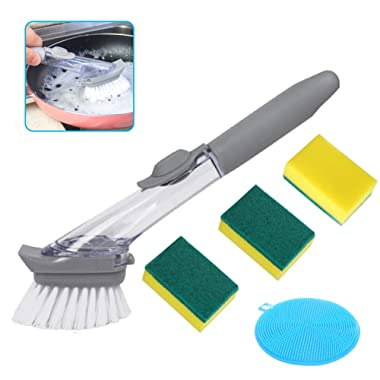 Apusale-Dish Brush Heavy Duty Dish Wand Sponge for Kitchen Sink Cleaning Brush with(1 Dishwands,3 Cleaning Sponges and 1 Silicone Cleaning Sponges)
