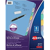 Avery Durable Plastic Write-On Dividers, 8 tabs, Multi-colour, 1 Set, (16171)
