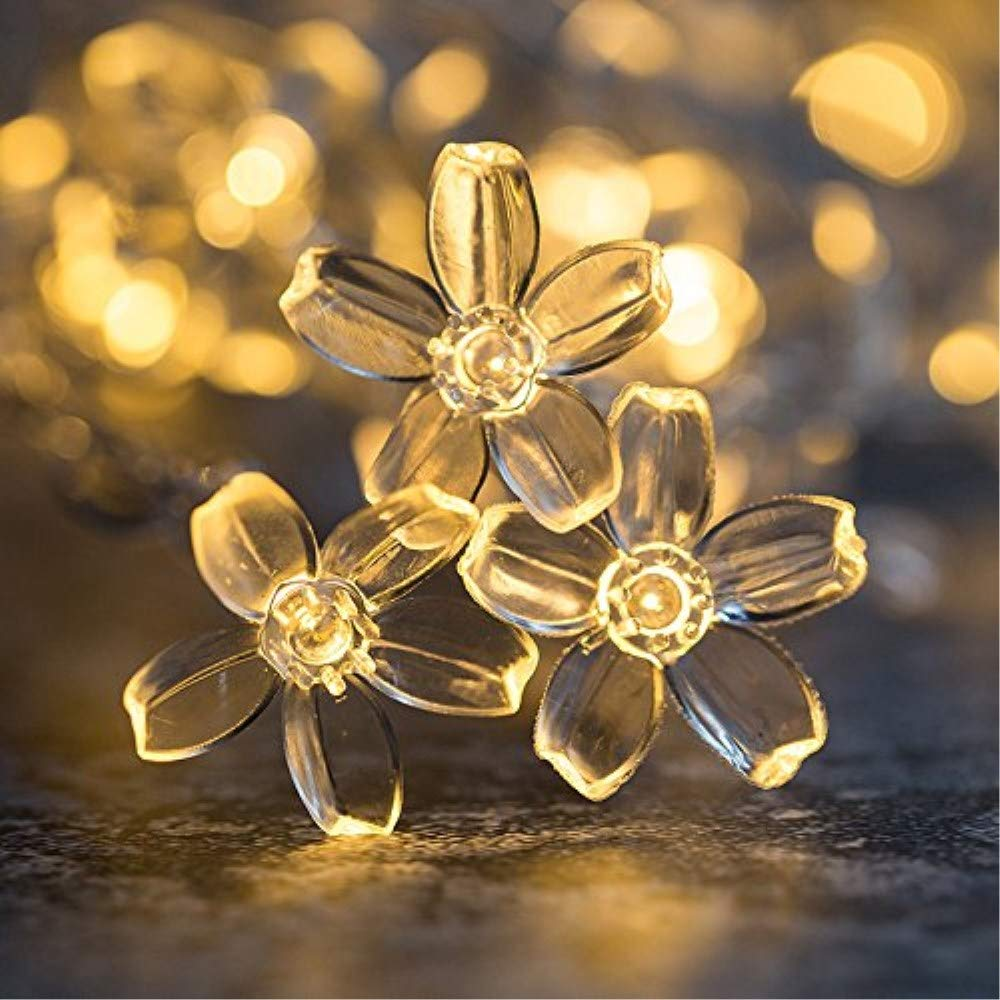 GreenClick 23Ft 50LED Outdoor Solar String Lights Warm White, Fairy Starry Lights Waterproof Decorative String Solar Lighting for Garden, Lawn, Patio, Yard,Home,Christmas Party