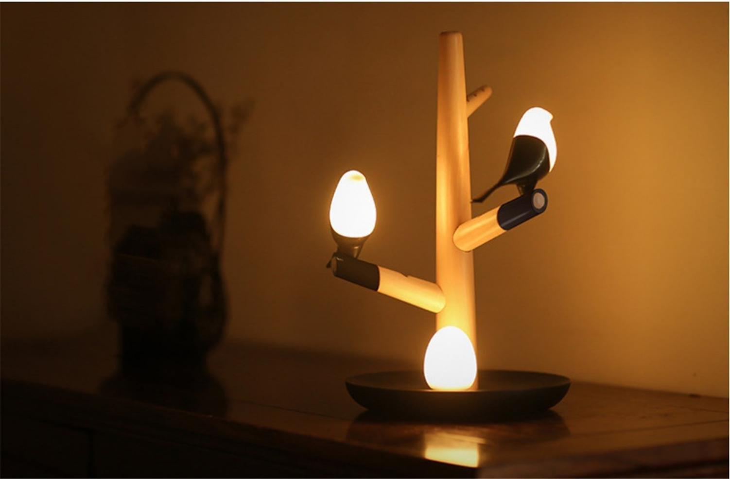 HAPPYMOOD Table Induction Lamp-Sense Light Christmas Gift Body Vibrative Induced Touch Sensor Bird Design Wall LED Decoration