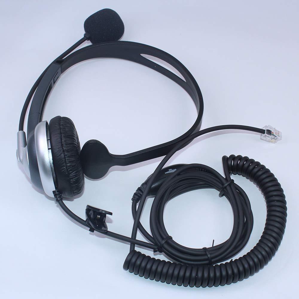 Auricular Manos Libres para Plantronics Zultys Polycom ShoreTel Nortel Norstar Meridianl Callez Auriculares Tel/éfono Fijo RJ9 Binaural C402A2 Control de Volumen Cancelaci/ón de Ruido Micr/ófono