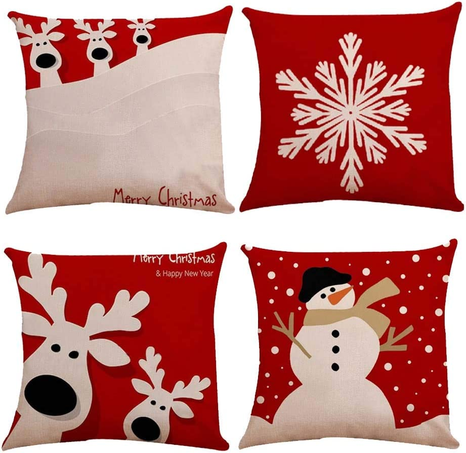 A Snowman, Deer Head, and Snowflake Christmas Pillow Covers