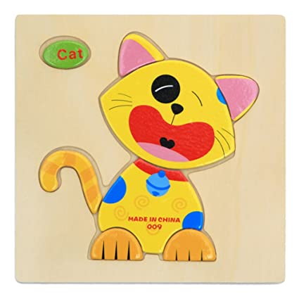 Alician Toy Children Cartoon Wooden Intelligence Jigsaw Puzzle Toy Animal Transportation Cognize Hands Grip Toy cat