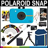 Polaroid Snap Instant Camera (Blue) + 2x3 Zink Paper (50 Pack) + Neoprene Pouch + Selfie Pole + Photo Frames + Photo Album + 16GB Memory Card + Accessory Bundle