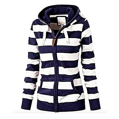 65e7b42dc81b3 Women s Casual Stripe Lightweight Sweatshirts Long Sleeve Zipper Striped  Hoodies at Amazon Women s Clothing store