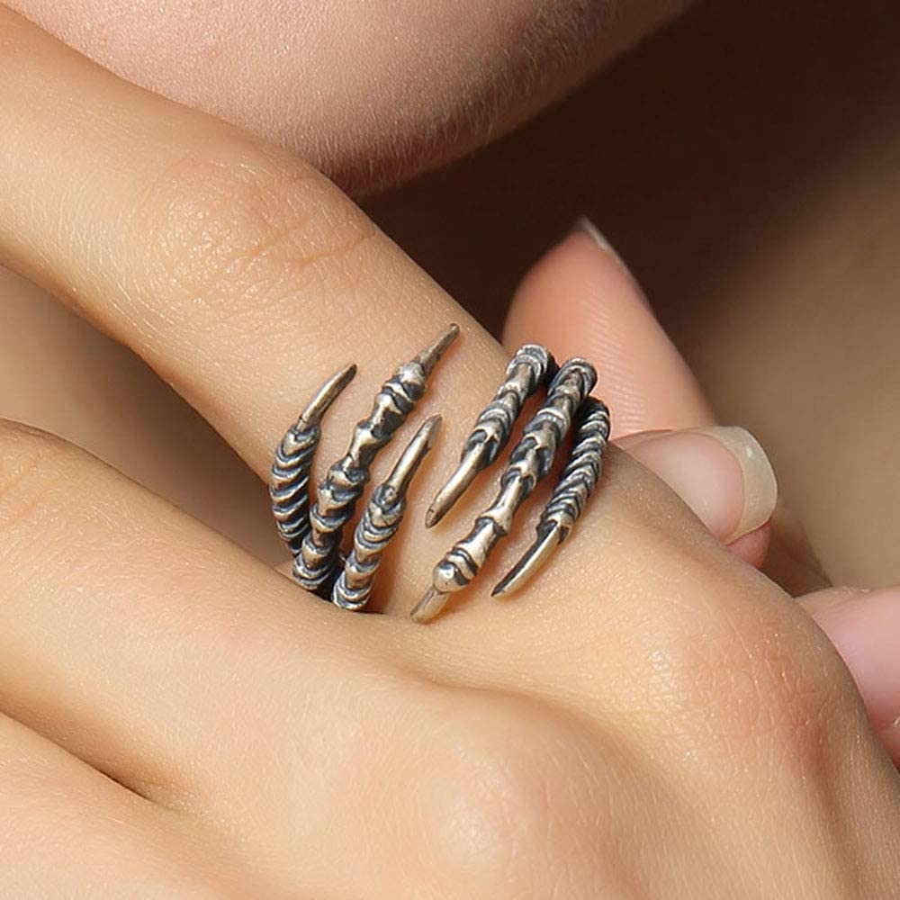 OOFAY Adjustable Ring Gothic Punk 925 Sterling Silver Six Claw,Both Men Women