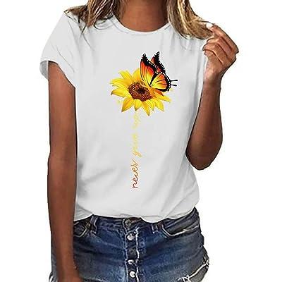 Meikosks Womens Sunflower Print Tops Crewneck Short Sleeve Blouses Summer Casual T Shirt: Clothing