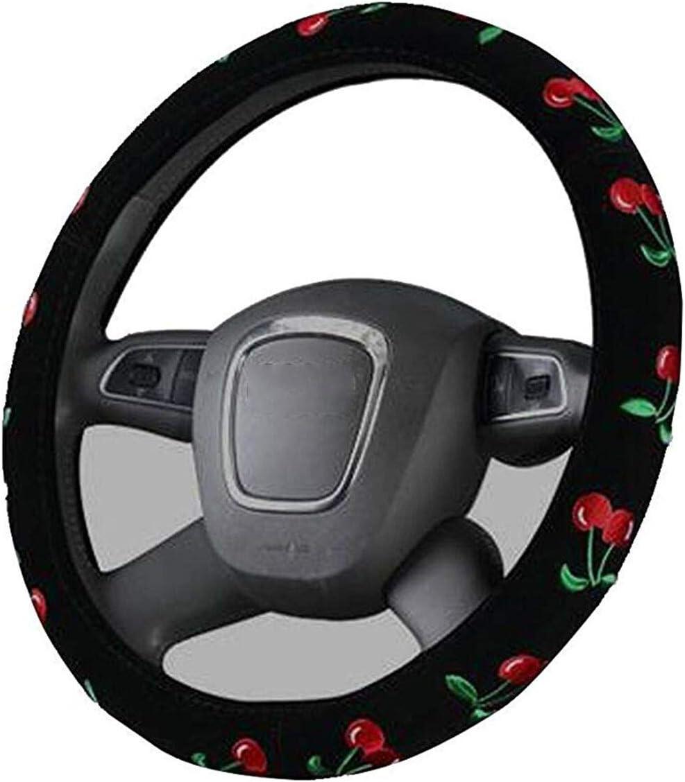 filles Housse de volant de voiture universel 38cm Cache de volant Broderie couvre-volant mignon pour femmes Cerise