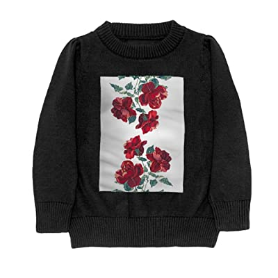 Hailin Tattoo Boys Cool Fit Knit Sweater Pullover Digital Printing Red Rose Love Crewneck Adult Sweater S-XL Black