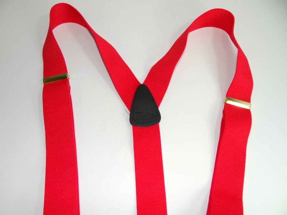 Hold-Ups Extra Long XL Fire Engine Red Dual Clip Double-ups Style Suspenders
