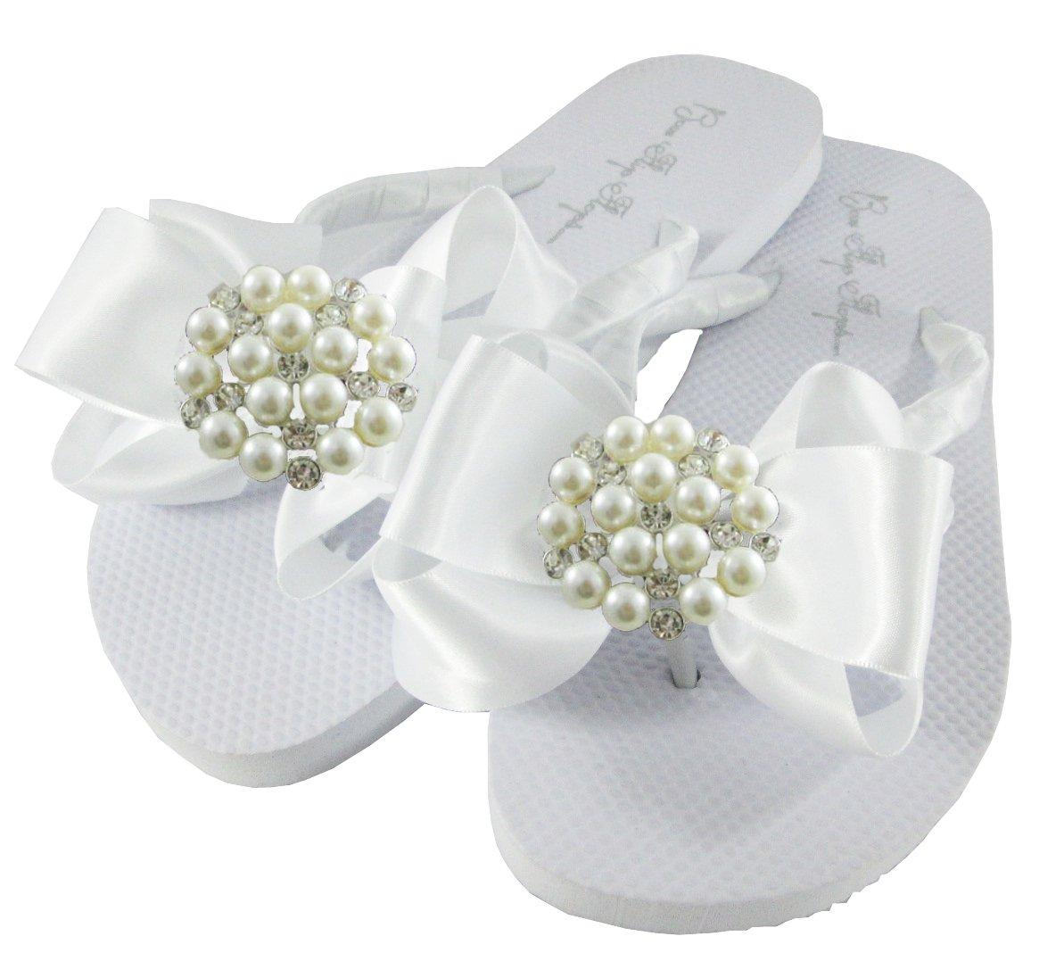 White or Black Ladies /& Girls Pearl Satin Bow Flat Flip Flops