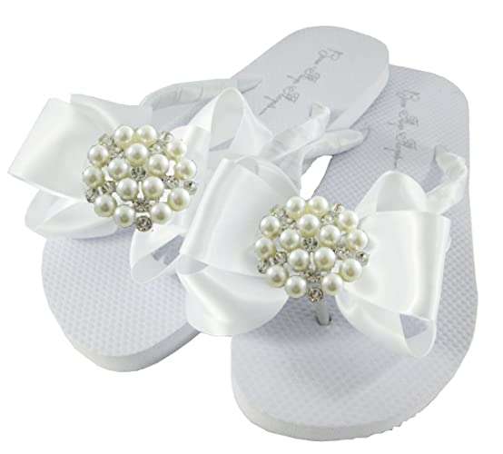 035c06773 Image Unavailable. Image not available for. Color  Pearl Satin Bow Flat Flip  Flops ...