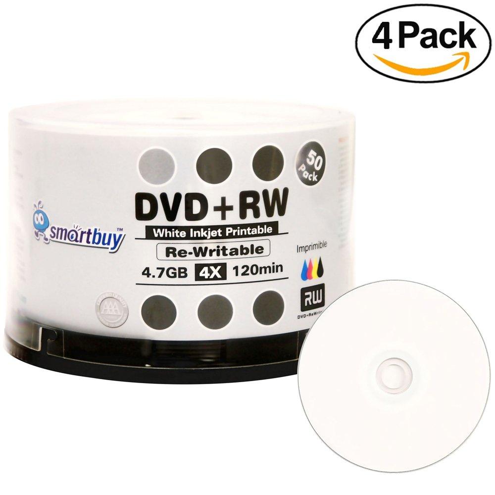 200 Pack Smartbuy Blank DVD+RW 4x 4.7GB 120Min White Inkjet Hub Printable Rewritable DVD Media Disc