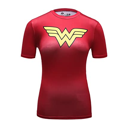 Cody Lundin Mujer Manga Corta Camisa Running Yoga Compresión Camiseta de Fitness Super Held Wonder Woman
