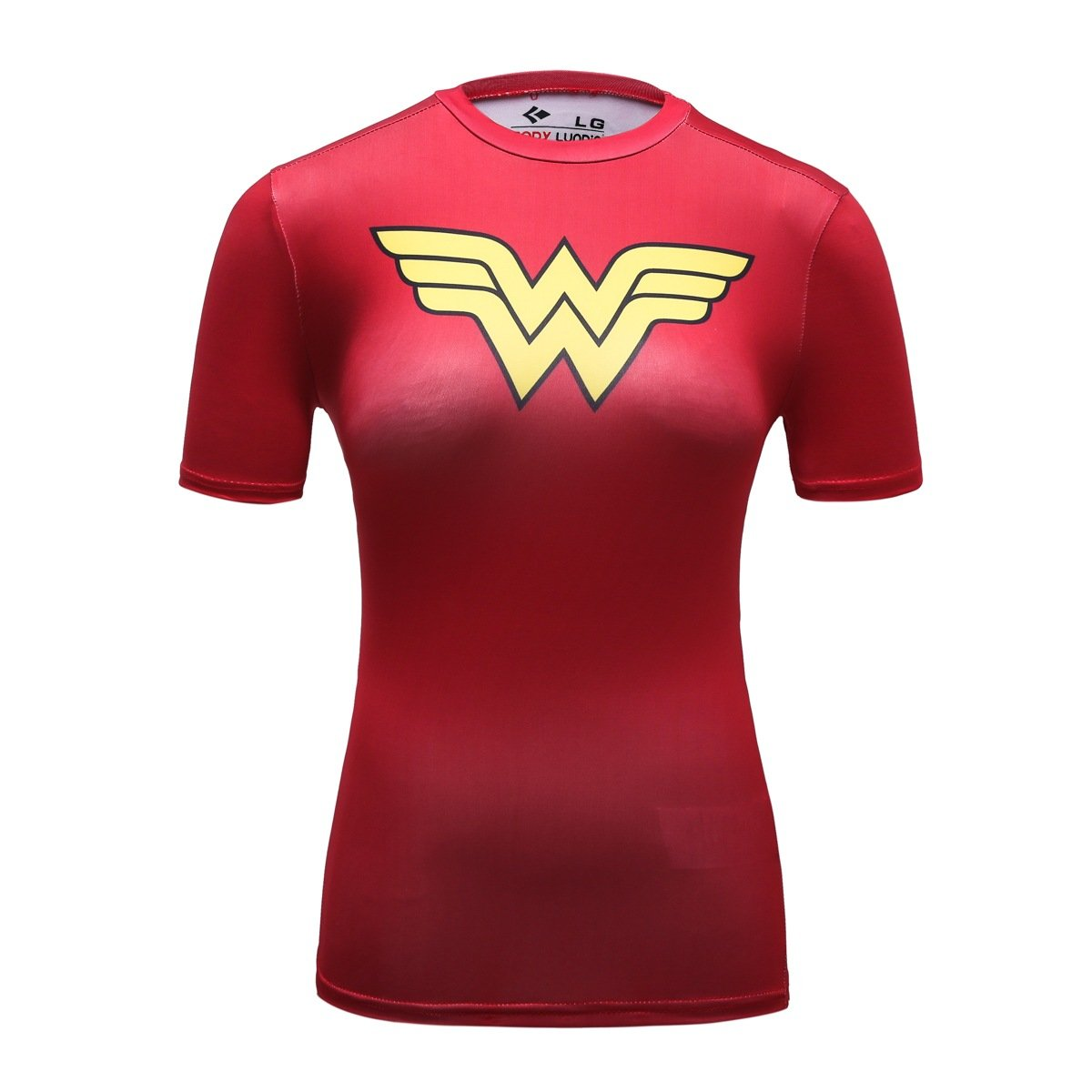 Red Plume Women's Compression Fitness Sport T-Shirt,Wonder Woman Short-Sleeve (XXL, Red)