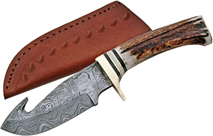 Damascus Szco Supplies 9 5 Steel Gut Hook Skinning Knife With Sheath Multi One Size Dm 1008 Hunting Fixed Blade Knives Sports Outdoors
