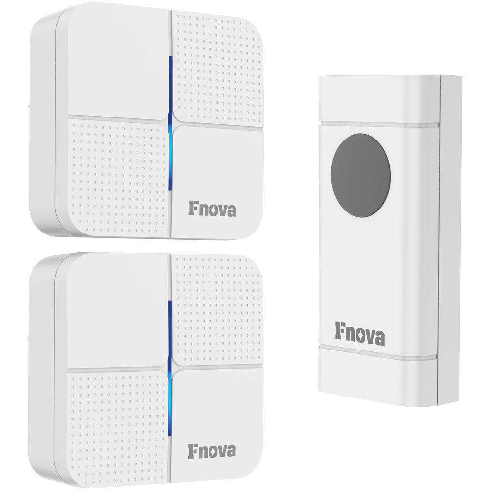 Wireless Doorbell, Fnova Waterproof Doorbell Kit Operating at 500-1000 ft with 1 Push Button and 1 Plugin Receiver, 52 Ringtones 4 Volumes, Doorbell Chime (White) (1 transmitter 2 receivers)