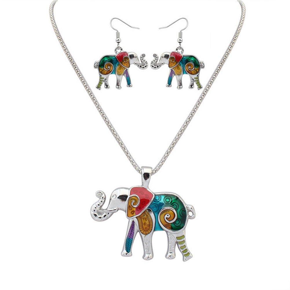 YJEdward Royal Wedding Elephant Necklace Earrings Jewelry Set Lovely Birthday Gift 2 Pcs