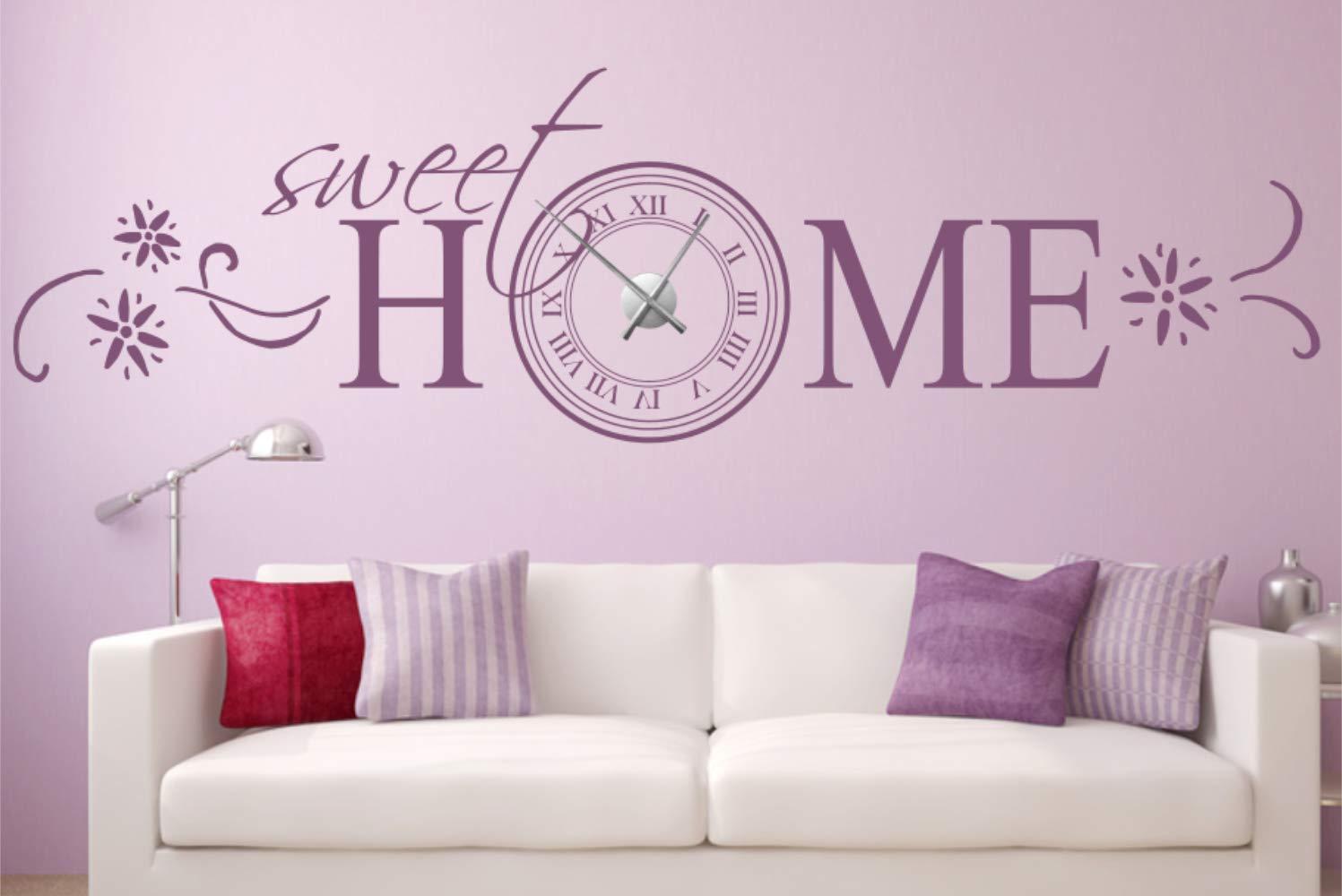Timalo® Wanduhr XXL Wandtattoo Spruch 'Sweet Home' – mit Uhrwerk – Uhr zum Aufkleben   76033-silber-200x57-Uhrwerk-silber