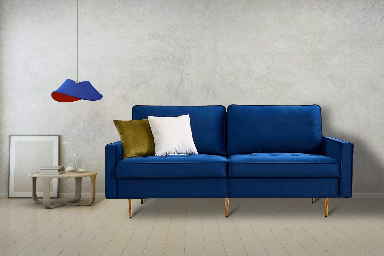 Artiron Modern Velvet Fabric Futon Couch Adjustable Blue Sofa