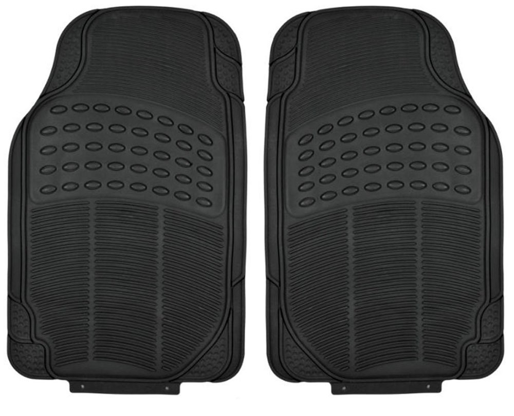 All Weather Tough Rubber Floor Mats in Black - 2pc Front Set BDK