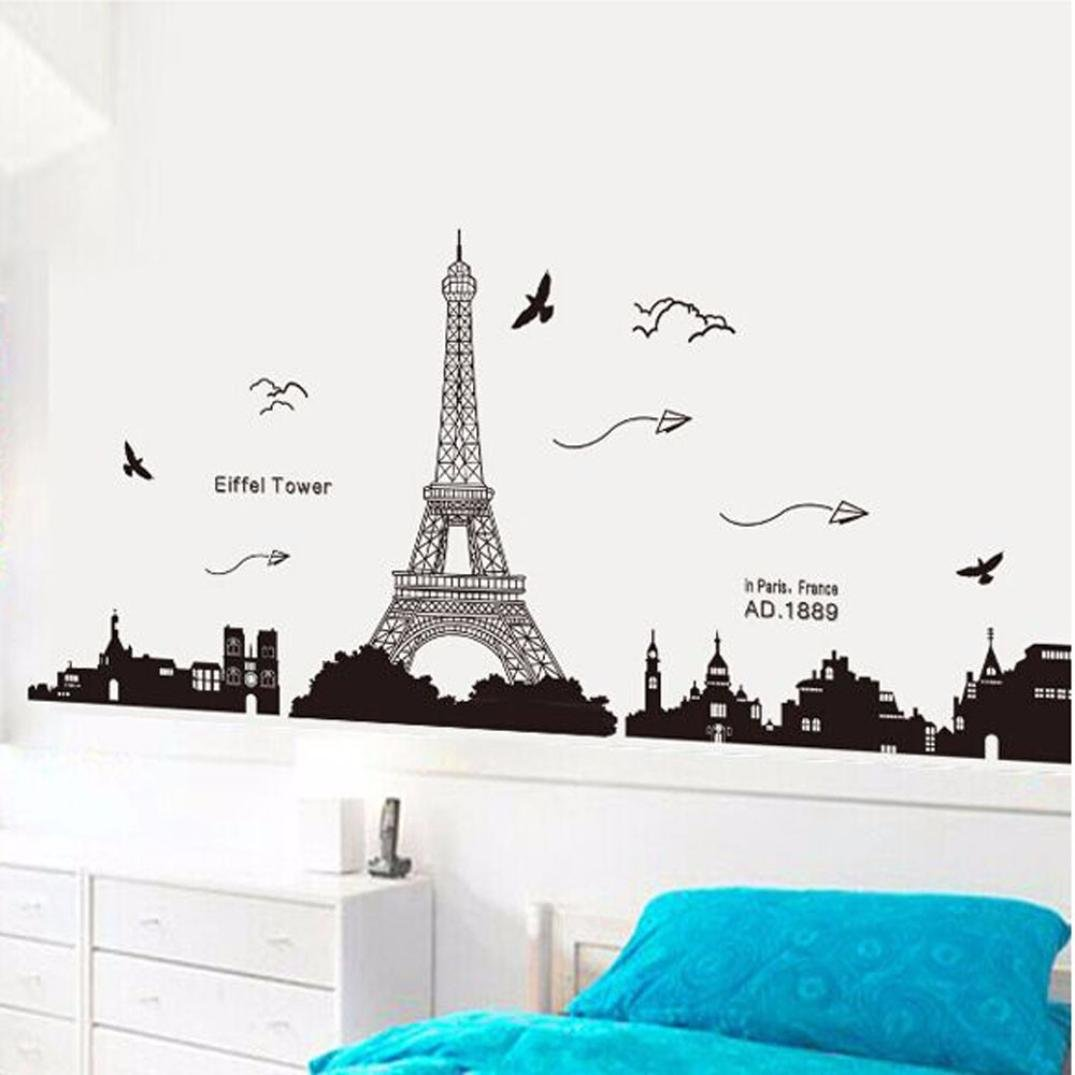 Amazon Com Ussore Eiffel Tower Removable Decor Environmentally Mural Wall Stickers Decal Wallpaper For Kids Home Living Room Bedroom Bathroom Kitchen