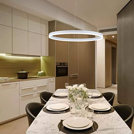 Charmant Modern LED Ring Chandelier, 23.6u0026quot; Acrylic Round Pendant Light,  Adjustable Circle Hanging Ceiling