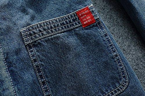 Gira Foderato Lunga Blu Uomini Jeans Di Classico Mimetica Giacca Chouyatou Giù F0gq7wdd