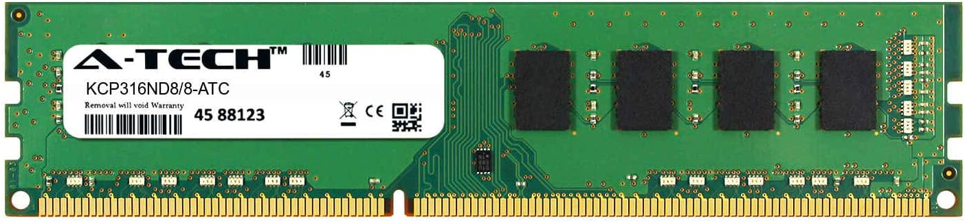 A-Tech 8GB Replacement for Kingston KCP316ND8/8 - DDR3 1600MHz PC3-12800 Non ECC DIMM 2rx8 1.5v - Single Desktop & Workstation Memory Ram Stick (KCP316ND8/8-ATC)