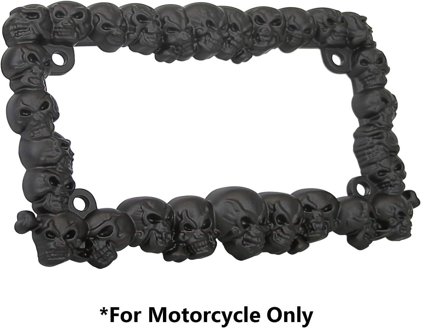 TC Sportline LPF270-BK 3D Skulls Style Zinc Metal Matte Black Finished Motorcycle License Plate Frame