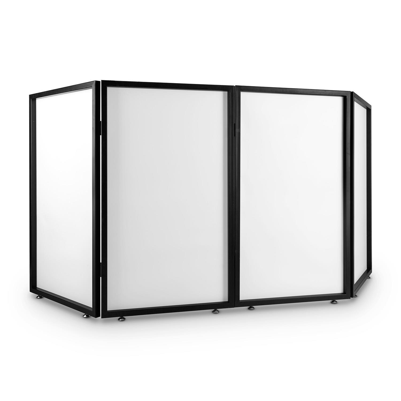 FrontStage Facade 4 Pannello Dj (paravento, telaio metallico 4 segmenti da 70x120x3 cm, tessuto translucido, cerniere in metallo, piedi regolabili) PS-Facade 4