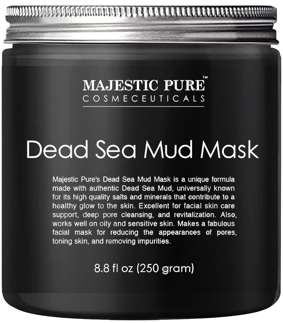 Majestic Pure Dead Sea Mud Mask for Face and Body - Gentle Facial Mask and Pore Minimizer for Men and Women - 8.8 fl. Oz
