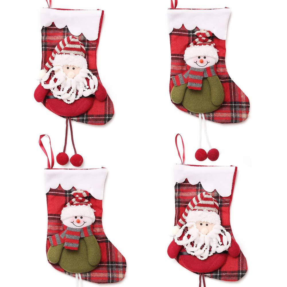 INTVN Chaussette de Noel, Christmas Stocking Bas de Noël Botte de Noel Chaussettes Sac Cadeau Suspendue Bonbons, 4 Pièces (Santa Claus & Snowman)