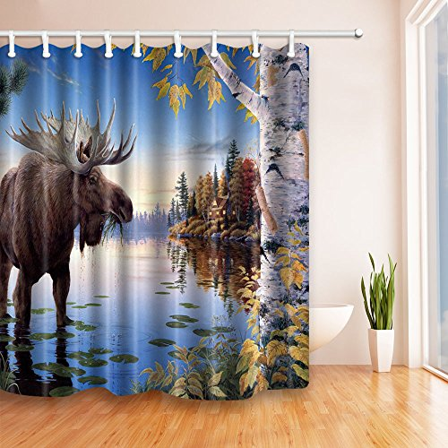 River Birch Leaves (NYMB Moose birch trees by the river in blue 69X70 inches Mildew Resistant Polyester Fabric Shower Curtain Set Fantastic Decorations Bath Curtain)