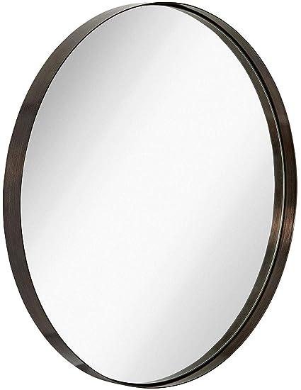 0531c7b873a7 Amazon.com  Hamilton Hills Contemporary Brushed Metal Black Wall Mirror