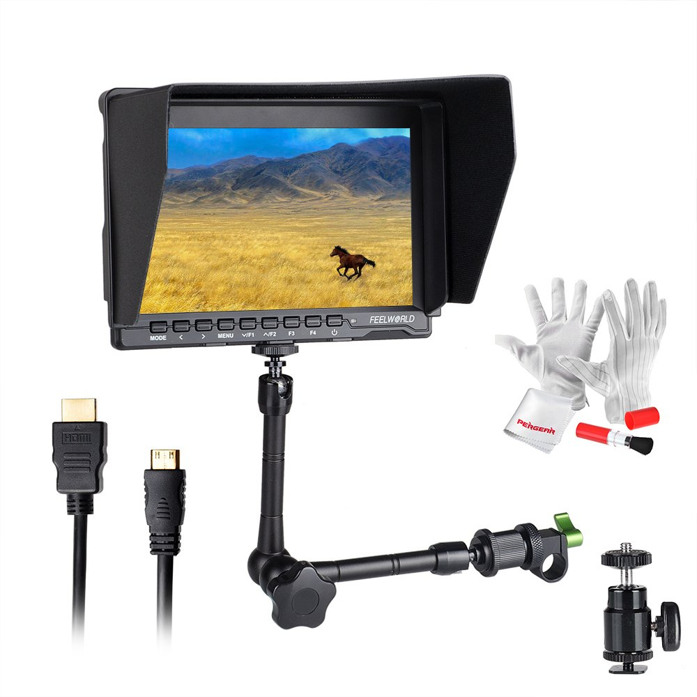 Feelworld FW759 7 Inch On-Camera Field Video Monitor with 11'' Magic Adjustable Arm- 1280x800 High Resolution, Wide View Angle IPS Panel, Enhanced 400cd/m2 Backlight and 800:1 Color Contrast Ratio by FEELWORLD