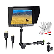 """Feelworld FW759 7 Inch On-Camera Field Video Monitor with 11"""" Magic Adjustable Arm- 1280x800 High Resolution, Wide View Angle IPS Panel, Enhanced 400cd/m2 Backlight and 800:1 Color Contrast Ratio"""