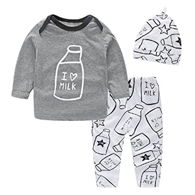 7ae0e2bf5f01e Cotton Baby Boy Clothes Top + Trouser + Hat 3pcs Newborn Infant Clothing  Sets Toddler Children